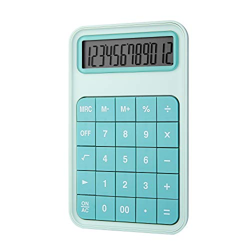 EooCoo Calculadora Sobremesa, Calculadora Básica con Pantalla LCD Grande de 12 dígitos Máquina para Oficina, La familia, Escuela, Mostrador de la tienda - Turquesa