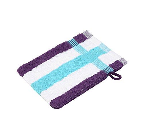 Gözze, lot de 4 gants de toilette rayés blanc, turquoise et lilas, 17x24 cm , 100% coton, excellente qualité 550 g/m², moelleux et utra doux Standard 100