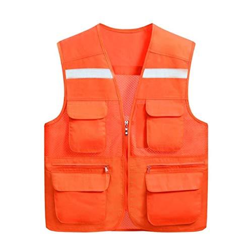 DBSCD Sicherheitsweste für Männer, Warnweste mit hoher Sichtbarkeit Reflektierende Weste mit Mehreren Taschen, atmungsaktiv (fluoreszierend grün, XXL)