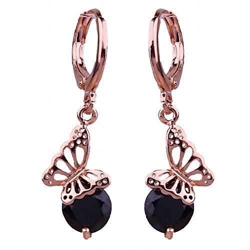 Pendientes de tendencia de moda Pendientes de diamantes de imitación Mariposa Diamante 18K Pendientes hipoalergénicos chapados en oro Pendientes femeninos