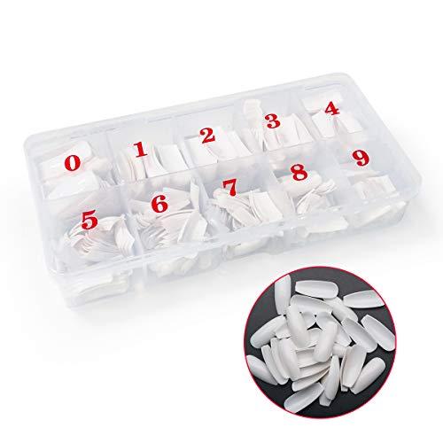 Ledeak Natürliche Falsche Nägel 500 Stücke, Acryl Künstliche Gefälschte Nägel, 10 Größen Kunst Französisch Nägel Fake Tipps mit Box für Damen Mädchen