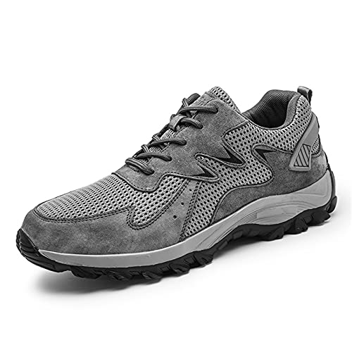 Men's Hiking Shoes Trekking Genuine Leather Shoes Athletic Anti Slip Lacing Sneakers Grey-7