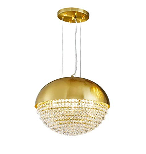 SHSM Modern Mini Crystal Chandelier,Orb Bedroom Hanging Light Fixtures,E14 Round Adjustable Stainless Steel Pendant Lighting for Living Room Home-Titanium Gold 40 * 35Cm Shade/Ti