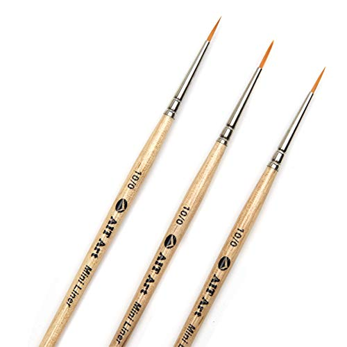 AIT Art Mini Liner Detail Paint Brushes, Size 10/0, Pack of 3, Handmade in USA for Trusted Performance Painting Small Details with Oil, Acrylic, and Watercolors