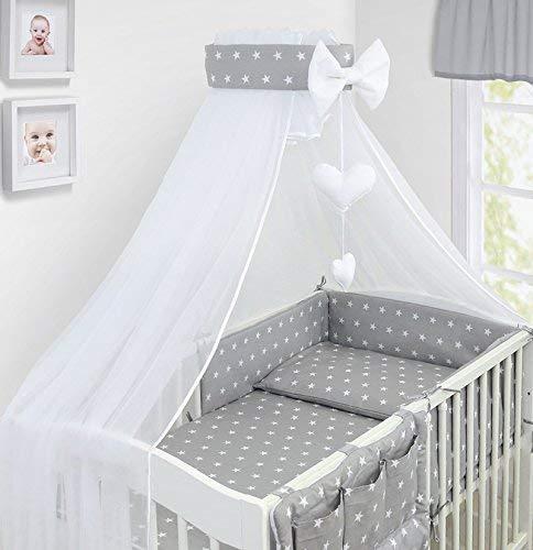 Juego de cama de lujo para bebé, 10 piezas, funda de edredón para cuna, 120 x 60 cm, 100% algodón, color gris