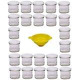 Viva Haushaltswaren G1130125/24T/bianco/X - Vasetti per marmellata Piccoli con Tappo, 24 P...