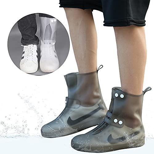 McBiuti Waterproof Women's Rain Shoe Covers, Reusable Foldable Overshoes, Resistant Rain Ankle high top Boots Non-Slip Washable Protection Black Grey White