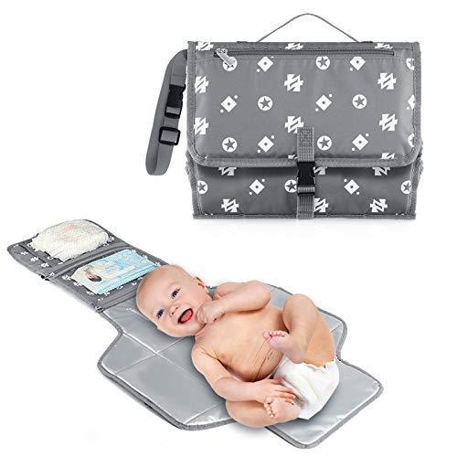 Cambiador de pañales portátil para bebé con cojín para la cabeza, toallitas y bolsillos para pañales, impermeable y plegable para usar en cualquier lugar (gris)