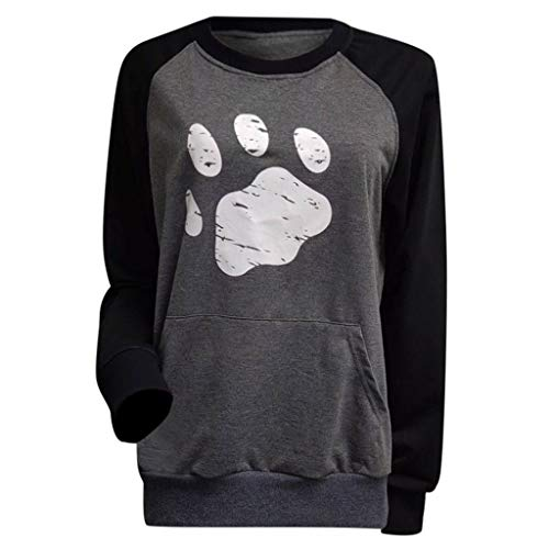 NANTE Top Loose Women's Blouse Dog's Paw Print Patchwork Pullover Hoodie Sweatshirt Shirts Womens Tops Ladies Costume (Gray, S)