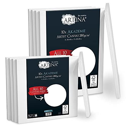 Artina Akademie Leinwand 10er 30x40cm (5) & 20x20cm (5) Set Leinwand auf FSC® Keilrahmen aus 100% Baumwolle - Keilrahmen in Akademie Qualität - 280 g/m² zum Bemalen