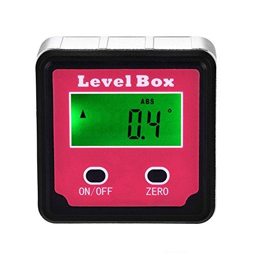 1pcs Transportador Digital 4x90 LCD Inclinómetro Nivel Bisel Caja Ángulo Buscador con Base Imán (Rojo)