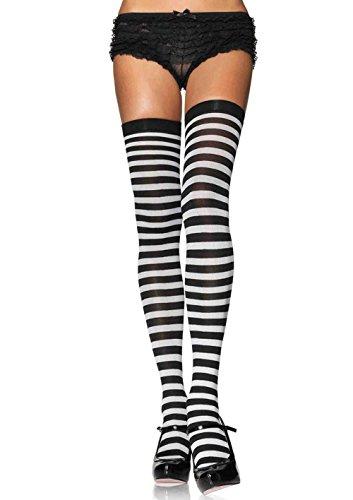 LEG AVENUE 6005 - Overknee Halterlose Strümpfe Mit Streifen, Einheitsgröße (EUR 36-40), schwarz/weiß, Damen Karneval Kostüm Fasching