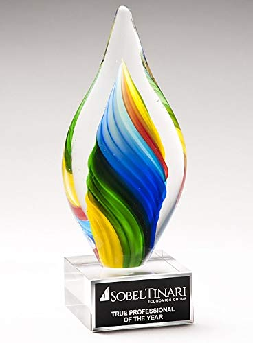 Includes Personalization Awards and Gifts R Us Customizable 8-3//4 Inch Hand Blown Tear Drop Shape Art Glass Sculptured Award