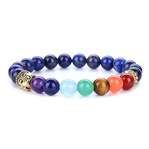 YAZILIND 8mm Energy Gemstone Jefes budistas Forma Yoga Budismo Pulsera 7 Chakra Reiki Curación Equilibrio Pulseras de Piedra Natural (# 9)
