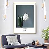 QLWLKJ Canvastavlor Målning Grön växt Vit blomma Nordiskt tryck Wall Art Bilder för vardagsrum Modern heminredning-60x80cmx2 Ingen ram