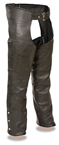 MOTORCYCLE MEN'S LEATHER RIDING CHAP PANTS SOFT COW LEATHER FULLY LINED BLACK (3XL Regular)