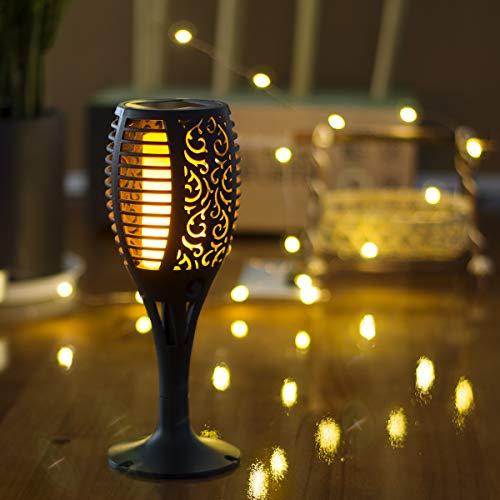 zkee Solar Torch Light with Flickering Flame,Fire Effect Lantern,Dancing Flame,Solar Garden Light, Dust to Dawn,Outdoor Waterproof Garden Decoration, Solar Powered Stick Light (Set of 6)