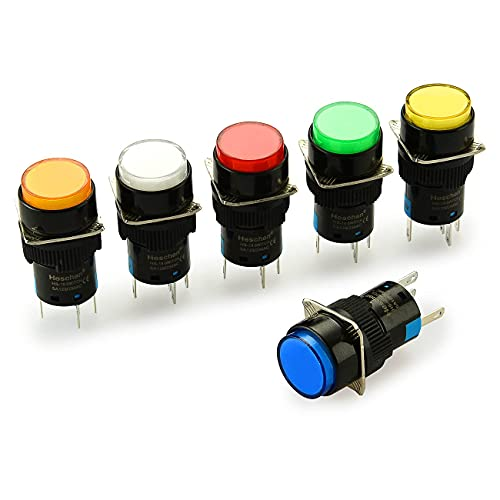Heschen Interruptor de botón redondo de 16 mm momentáneo, 1NO 1NC, blanco, rojo, naranja, azul, verde, amarillo, 12 V lámpara LED