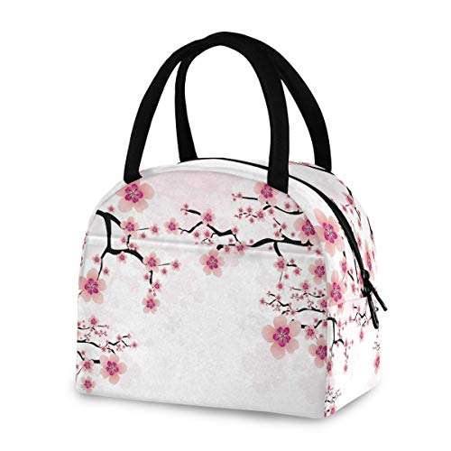 ZZKKO Abstract Cherry Blossom Lunch Bag Box Tote Organizer Lunch Container Insulated Zipper Meal Prep Cooler Handbag For Women Men Home School Office Outdoor Use