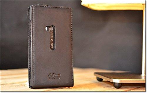 Akira Hand Made [Echt Leder] Handyhülle kompatibel mit Nokia Lumia 920 Cover Handgemacht Case Schutzhülle Etui Flip Wallet Pen Schwarz