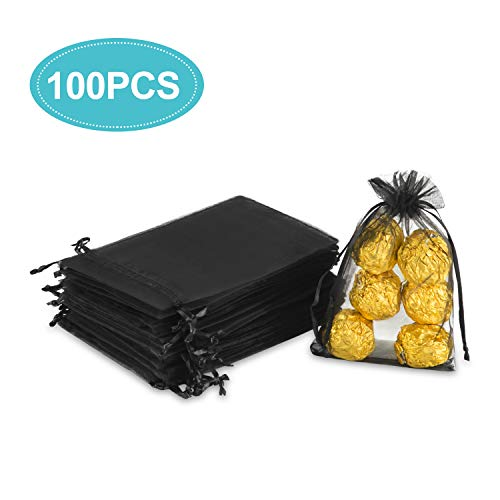 Hopttreely 100PCS 3.8x6inch (9.7x15cm) Sheer Drawstring Gift Bags, Black Organza Wedding Party Favor Pouches Jewelry Christmas Festival Gift Bags