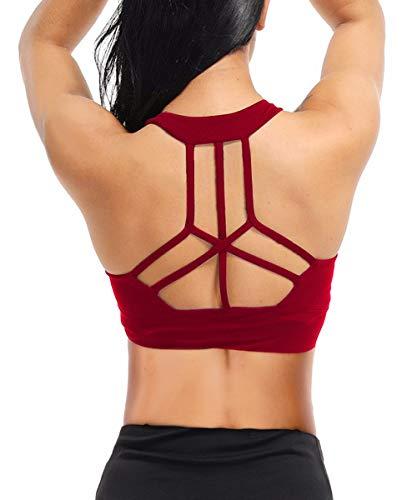 Yaavii Sport BH Starker Halt Gepolstert Push Up Frauen Bustier Atmungsaktiv Bra Top ohne Bügel für Yoga Fitness-Training Wein Rot M
