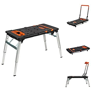 Vergo 7-in-1 Multi-purpose Mobile Work Bench Scaffold Platform Sawhorse Dolly Creeper Hand Truck Workbench with Surge Protector and USB Port