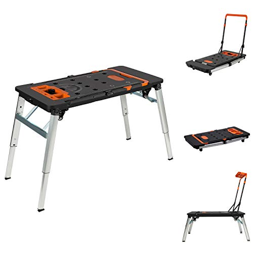Vergo 7-in-1 Multi-purpose Mobile Work Bench, Scaffold, Platform, Sawhorse, Dolly, Creeper, Hand Truck, Workbench with Surge Protector and USB Port