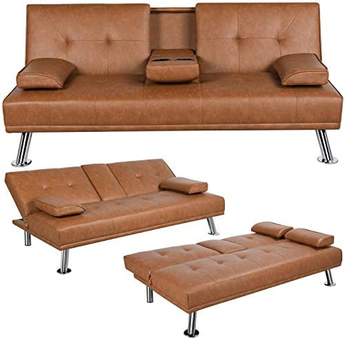 YAHEETECH Convertible Sofa Bed Couch Futon Sofa Bed Adjustable Sleeper Sofa with Armrest Cup product image