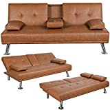 Yaheetech Convertible Sofa Bed Couch Futon Sofa Bed Adjustable Sleeper Sofa with Armrest Cup Holder Recliner Couch Loveseat Living Room Furniture Brown