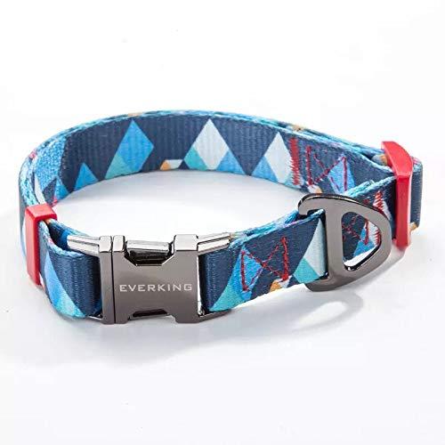 Hundehalsband Verstellbar Modern Mehrfarbig für Große, Mittelgroße, Mittlere und Kleine Hunde, Atmungsaktiv. Hundehalsbänder, Leine und Hundezubehör aus Nylon. (Large, 0202-4)