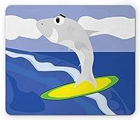 スマイルレクタングルマウスパッド、海でサーフボード上のサメのデモンストレーション、滑り止めラバーバッキングマウスパッド、セイルブルーイエローバイオレットブルー、ライムグリーン