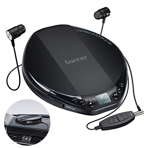 Gueray Portable CD Player Small CD Player for Car Portable HiFi Lossless CD Discman Compact Disc Personal Walkman Player Shockproof Anti-Skip with Aux Cable in-line Control