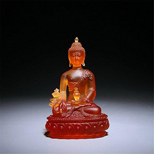 TYGJB Estatua de Buda de Vidrio de Alto Grado Diagrama de Escultura Regalo Artesanía Estatua de Buda Decoración Artesanía Decoración de Oficina en casa (ámbar)