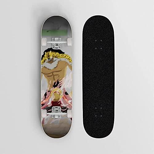 Una Pieza Rob Lucci Vs Monkey D. Luffy Anime Skateboard, Mini Cruiser, Monopatín De Cubierta De Arce De 7 Capas, Rodamiento De Carga 100 Kg, Scooter De La Calle De La Carretera Para Principiantes