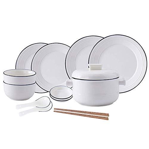 Juego de té Juego de té Lanzamiento de un nuevo pr 12 pack vajilla de cerámica Sencillez Hogar Setplicity Set Los patrones de líneas azules, conjuntos de cena de cocina de estilo europeo con plato de