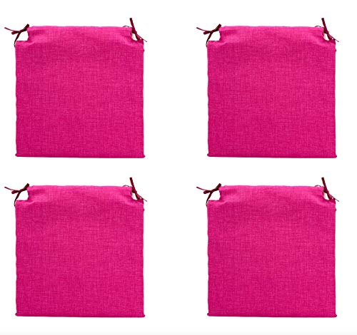 TIENDA EURASIA® Pack 4 Cojines para Sillas - Estampados Lisos con 2 Cintas de Sujeción - Ideal para Interiores y Exteriores - 40 x 40 x 3 cm (Fucsia) ⭐