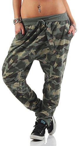 Mississhop 165 Damen Hose Sweatpants Camouflage Militär Print Jogginghose Freizeithose Boyfriend Baggy Pumphose Gummibund Tarnmuster Oliv