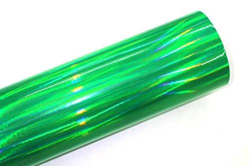 Finest Folia (19,73€/m²) Laser Hologram Chrom Grün Auto Folie mit Luftkanäle Holographic (Muster 10x10cm)