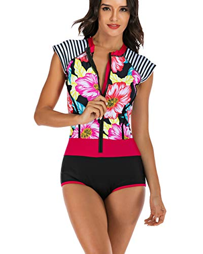 Rash Garde Damen-Badeanzug mit Reißverschluss vorne Tank Top One Piece Surf Badeanzug XXL Pink