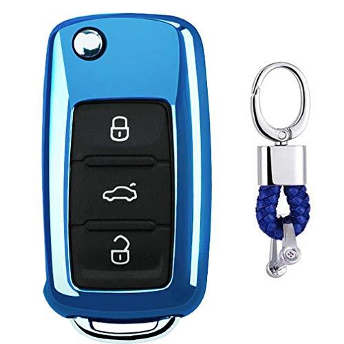 Bleu Auto clés Sac Housse de Protection pour VW Volkswagen Polo Passat Golf Beetle Rabbit GTI Jetta 3 Button