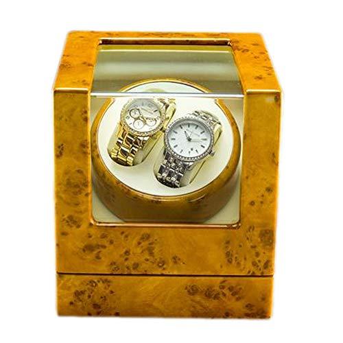 zyy Lujo De Madera Automático Cajas Giratorias for Relojes, Motor Silencioso Y 5 Modo De Roaming, 2+0 Caja De Almacenamiento De Reloj, 2 Fuente De Alimentación (Color : B)