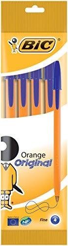 BIC Orange Original Penne a sfera a punta fine (0,8 mm), confezione da 4