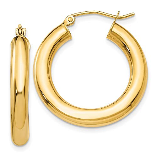 14k Yellow Gold 4mm Tube Hoop Earrings Ear Hoops Set Round Classic Fine Jewelry For Women Gifts For Her
