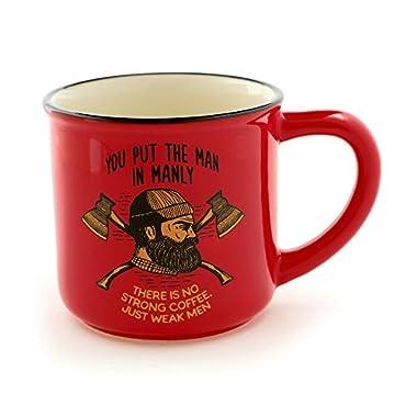 "Enesco 6000123 Our Name Is Mud for Men ""Lumberjack"" Stoneware Coffee Mug, 16 oz, Red"