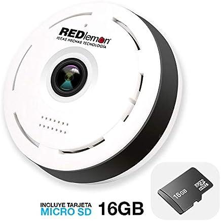 REDLEMON Cámara De Seguridad WiFi HD 360° Panorámica, Lente Fisheye para Visibilidad Total. Detección de Movimiento, Visión Nocturna, Audio Bidireccional, Ranura MicroSD, compatible con iPhone y Android. Para Casa, Oficina, Monitor de Bebé. Con memoria de 16GB