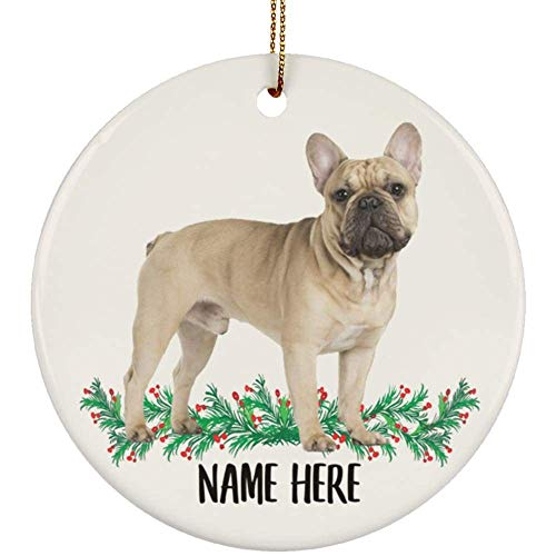 Lovesout Funny Personalized Name French Bulldog Gold Fawn Christmas Tree Ornament Circle Ceramic