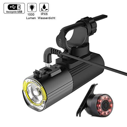 CLOUDH LED Fahrradlicht Set, 1000 Lumen Superhelle Fahrradbeleuchtung Frontlicht USB Wiederaufladbare Fahrradlampe Mit Rücklicht Licht Für Fahrrad Für Outdoor Sport