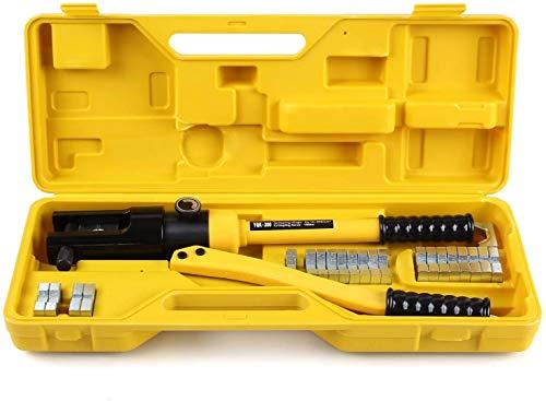 FEMOR Hydraulische Presszange Crimpzange Kabelklemme 10-300 mm² Zange Kabelschuhe Zange,360°, drehbarer, 16T