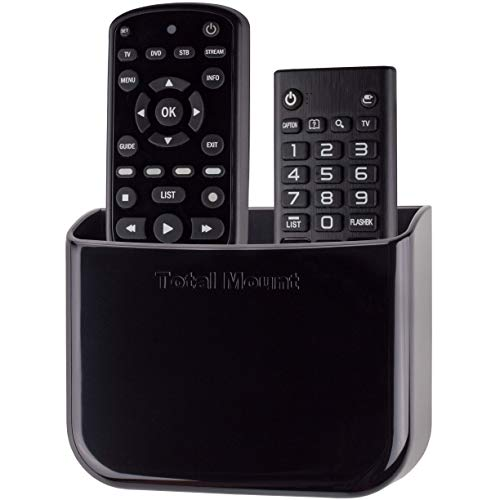 TotalMount Hole-Free Remote Holder - Eliminates Need to Drill Holes in Your Wall (for 2 or 3 Remotes - Black - Quantity 1)